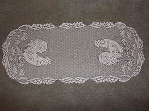 Lace Table Runner White  Rooster  design 34 x 14
