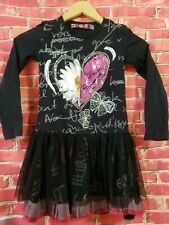 DESIGUAL Black & Pink Sequined girls dress size 7/8 long sleeve