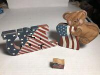 Lot Of 3 Patriotic Wooden Decor - Teddy Bear Flag & 2 USA Americana Flags