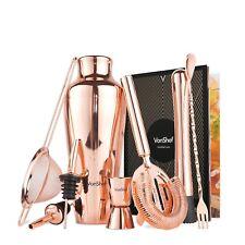 VonShef Copper Cocktail Shaker Set Bar Accessories Kit Rose Gold Bartender Home