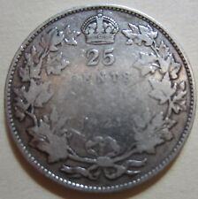 1921 Canada Silver Twenty-Five Cents Coin. BETTER GRADE KEY DATE (RJ6)