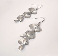 Matte Silver Orchid Drop Earrings- Jewellery-Vintage Flower Charm Gift - Premium