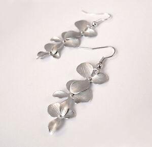 Silver Orchid Drop Earrings- Jewellery-Vintage Flower Charm Gift -Bridal Premium