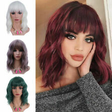 Halloween Cosplay Wig Short Wavy Curly Hair Bob Wigs With Bangs Cosplay Party