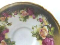 """Royal Chelsea Vintage Porcelain China Saucer Plate Pink Golden Rose England 5.5"""""""