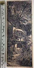 """Magenta Wood Mounted Rubber Stamp Vtg Country House 6x2"""" Trees Ladder Pail"""