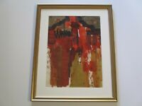VINTAGE ABSTRACT EXPRESSIONISM PAINTING SIGNED PRESNALL 1970'S MODERNIST AUTUMN