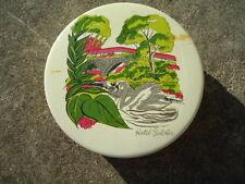 Round White & Gold Tin with Swan Swimming Near a Bridge 6 ½ Inches Diameter X 1
