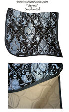 "FANCY SWALLOW TAIL  ""VIENNA"" BLACK SILVER  BAROQUE DRESSAGE SADDLE PAD"