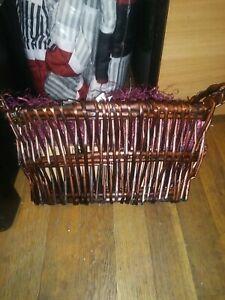 "Dark Gift Basket w/Wood Handles 16"" Long Storage Display Oval Wicker Rattan"
