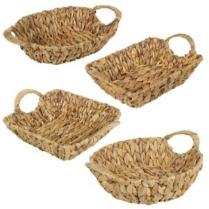 Natural Handmade Water Hyacinth Woven Storage Basket Square Round Oval Rectangle