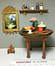 Lot Miniatures Table, Food,  Dishes, Wall Shelf, Table  1:12 (9N