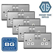 5x BG Nexus Double Socket Brushed Steel Satin Chrome White Insert NBS22W 2 Gang