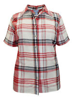 PURE COTTON  PLUS SIZE RED CHECK  BLOUSE SHIRT TOP  SIZE  16-38 £18.99 FREE P&P