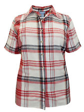 PURE COTTON  PLUS SIZE RED CHECK  BLOUSE SHIRT TOP  SIZE  16-38  FREE P&P