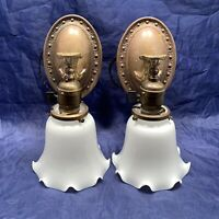 Wired Pair Brass Sconces White Shades Wall Sconce Fixtures Rewired 57F