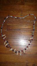 Urarina Peru Amazon Indian Beads, Teeth, Snail Shell, Necklace