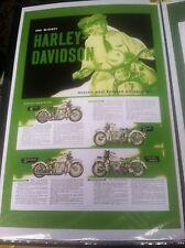 Vintage Harley Knucklehead Side Valve Pan Police Poster Man Cave Garage Art