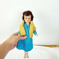 "Vintage Uneeda Girl Doll Short Brown Hair Blue Dress Yellow Vest 8"" Sleepy Eyes"