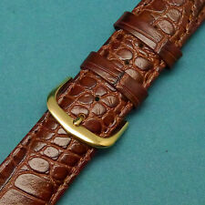 20mm Quality Calfkin Lite Brown Croco Watch Band with Gold Buckle fits All Watch