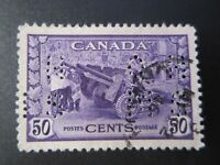 """CANADA STAMPS  #0261 USED 1942 """"KGVI WAR ISSUE-MUNITIONS"""" O.H.M.S. PERFERATIONS"""