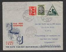 Netherland to Netherland Indies & Return Air Mail DC-3 Triangle 1937 Cover z12