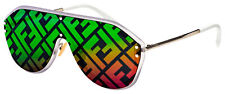 Fendi Sunglasses FF M0039/G/S F74 R3 Silver Frame | Rainbow Mirrored Lens