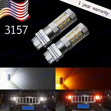 2x 3157 SMD Dual Color Switchback White Yellow 6000K 4014 Chip LED Light Bulbs