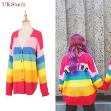 Knitted Rainbow Striped  Cardigan Womens Autumn V-neck Sweater Single-breasted