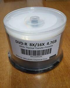 Mitsubishi 50 Pack of DVD-R 8X/16X 4.7GB White Thermal Transfer Printable Discs