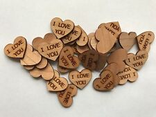 50 Streudeko Holz Herz Tischdeko I LOVE YOU Liebe Hochzeit Dekoherzen Streuteile