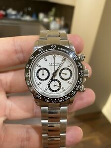 Parnis Men's Chronograph Automatic Movement White Dial - Great Condition