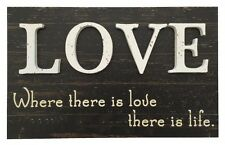 Bild Holz Love Where there is ...41 x 25 cm Liebe Deko Spruch Neu Shabby Vintage
