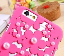 For iPhone 6 / 6S - Hard Hollow Protector Case Cover Hot Pink Flower Petal Pearl