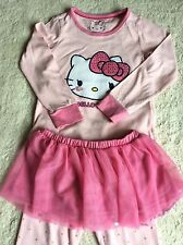 GIRLS – M&S – HELLO KITTY – PINK SLEEP/ PYJAMA SET – 4-5 YEARS – WITH SKIRT