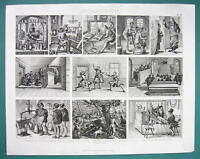 ARCHITECTURE Medieval Trades & Occupations Fencing School - 1870s Superb Print