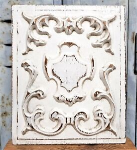 Shabby painting scroll decorative panel Vintage french architectural salvage