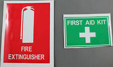 Set of 2 Safety Sign Stickers - First Aid & Fire Extinguisher 148mm Wide