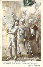 CARTE POSTALE FANTAISIE JEANNE D' ARC DELIVRE ORLEANS 1909