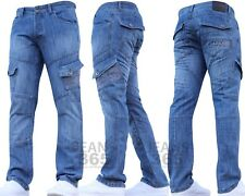 CROSSHATCH New Mens Designer Cargo Combat Denim Work Jeans Pants Waist Leg Sizes
