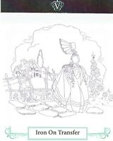 Vintage Visage iron on embroidery transfer- crinoline lady and cottage 2 sheets