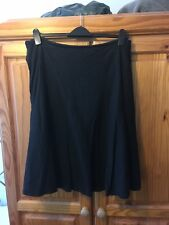 Black Linen Mix Mid Skirt Size 16