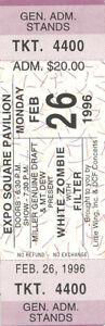 White Zombie Concert Ticket Filter 1996