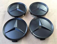 MERCEDES SET OF 4 ALL BLACK CENTER WHEEL HUB CAPS 64MM COVER EMBLEM NEW