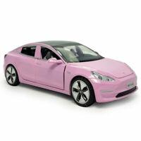 1:32 Tesla Model 3 Model Car Diecast Gift Toy Vehicle Kids Sound Light Pink