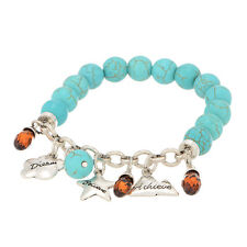 Dream Believe Acheive Inspirational Turquoise Blue Bead Jewelry Stretch Bracelet