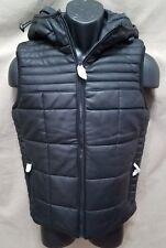 EXPRESS Hooded Black Vest Polyurethane NWT $178 XS Extra Small