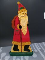 """13"""" Tall Real wood Hand Painted Santa Claus European Style Glossy Finish"""