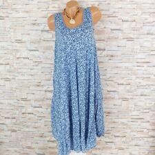 MADE IN ITALY Hängerchen Kleid Sommerkleid Blümchen Mille Fleur hell-blau 40-44
