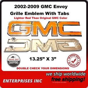 GMC Chrome OFF Red Grille Emblem With Tabs Compatible With 2002-2009 Envoy